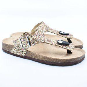 Gold Glitter Thong Cork Slide Sandals